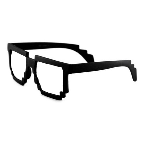 8 Bit Pixel Black Matte Pixelated Glasses Clear Lens Nerd Video Game Geek - Sunglasses Video Game