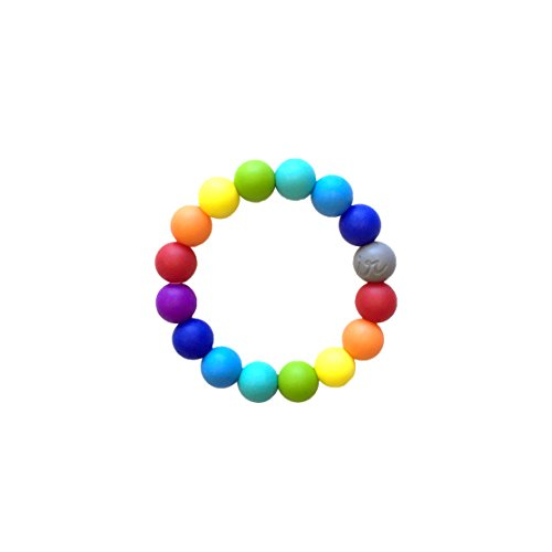 Itzy Ritzy Teething Happens Silicone Bracelet, Rainbow