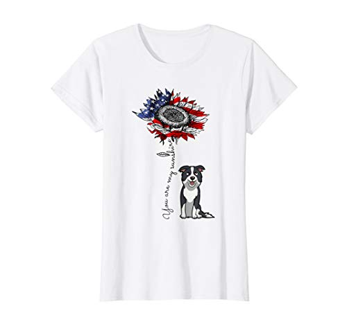 Womens You Are My Sunshine Border Collie Sunflower US Flag Shirt (Collie Hat White)
