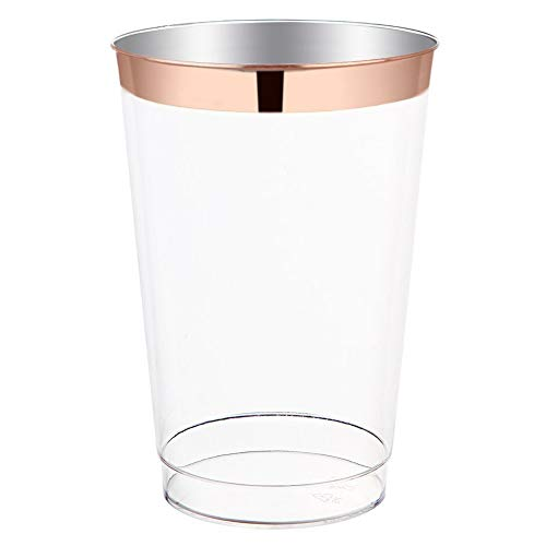 (110 Rose Gold Rim Plastic Cups Fancy Old Fashioned 10 oz Tumblers, Luxury Disposable Wedding Cups for Elegant Party Outdoors or Indoors, BPA Free)