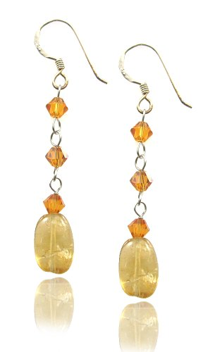 (MGD, Swarovski Element and Yellow Gold Citrine Bead Drop and Dangle Earrings, Fish Hook Earrings, Fashion Handmade Jewelry For Women, Teens and Girls,)