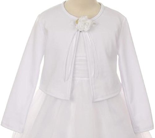 Big Girls Long Sleeve Flower Girl Cardigan Sweater Bolero (13KD3) White 8 Flower Girl Bolero
