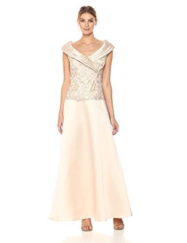 [해외]알렉스 저녁 여성용 2 피스 드레스, 세로 칼라 블라우스 및 새틴 스커트/Alex Evenings Women`s Two-Piece Dress With Portrait Collar Blouse and Satin Skirt