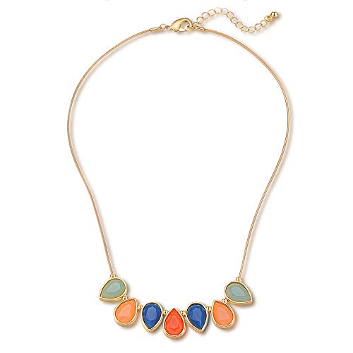 FAMARINE Multicolor Teardrop Resin Pendant Chain Collar Bib Statement Necklace for Girls Women, Red Blue Green Orange