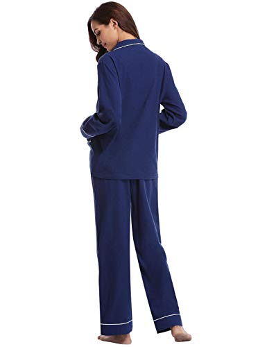 Lungo Set Maniche Camicia Due In Notte Pigiama Abollria Da Cotone Pezzi C Con Lunghe Donna blu dqxwt1ng1v