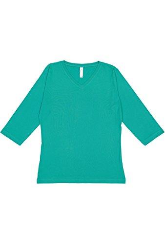 LAT Ladies' 100% Cotton Jersey V-Neck 3/4 Sleeve Tee (Jade, ()