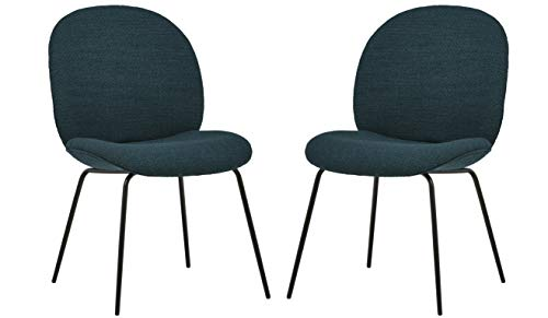 Rivet Weedin Contemporary Upholstered Dining Chair - Set of 2, 20 x 23 x 33 Inches, Juniper Blue