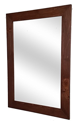 Shiplap Mirror 30 x 42 Vertical English Chestnut Stain Reclaimed Wood Mirror - Large Wall Mirror - Rustic Modern Home - Home Decor - Mirror - Housewares - Woodwork - Frame by Renewed Decor (Mirror Frame With Red)