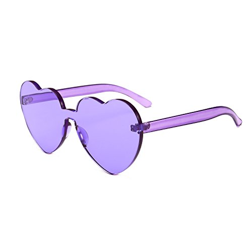 Bedis Colorful Transparent Heart Shape Sunglasses One Piece Rimless Eyewear BD210 (Purple, - Purple Transparent