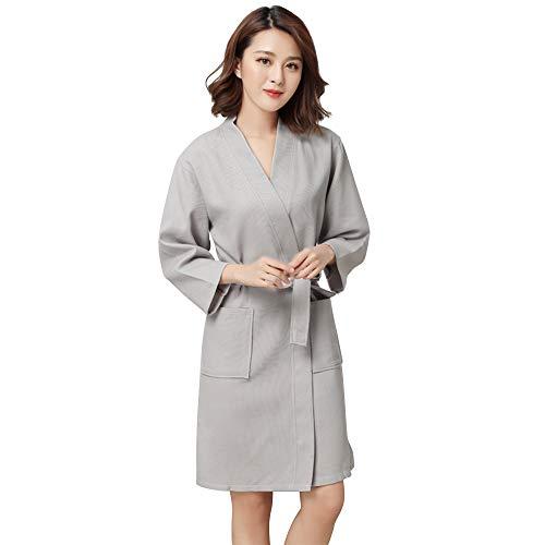 100 Due Cintura Vestaglia Kimono Grigio Tasche E Women Accappatoio Cotton Waffle Con Yifen RnWOxw68R