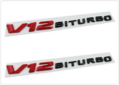 Auggies Black Red V12 BITURBO Emblem Car Badges Decal Fender Side Emblem Plate Self- Adhesive For Mercedes AMG (2) (V12 Badge)