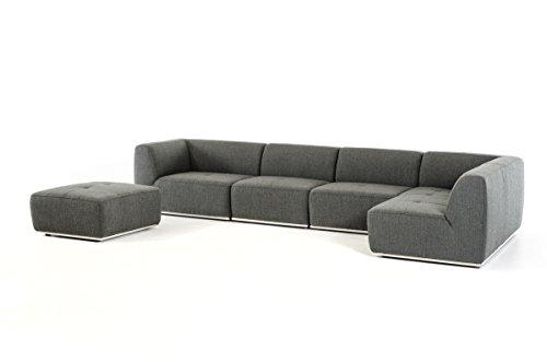 Divani Casa Hawthorn Modern Grey Fabric Sectional Sofa and Ottoman
