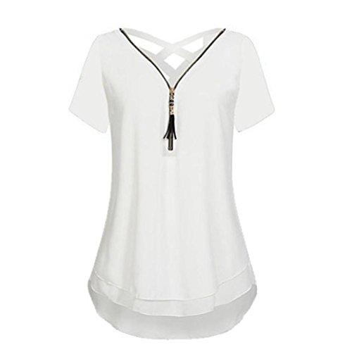 Frauen Reißverschluss Sommer 7 Oberteile Tank T Shirt Tops Weiß DOLDOA Damen 1xpqB5SXBw