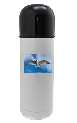 Seagull, Bird, Fly, Animal, Freedom 350ml white thermos by PickYourImage