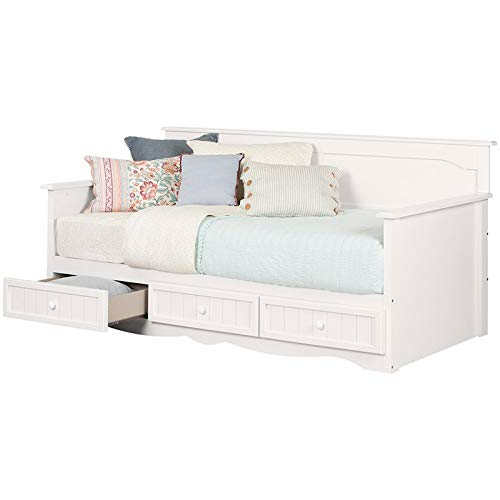 (South Shore 11685 Savannah Daybed with Storage, Twin, Pure White)