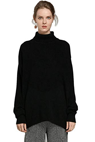 Sweater Jumpers Women's Cashmere Ribbed Knit Turtleneck Long Sleeve Pullover Sweater Tops (L, B-Black)