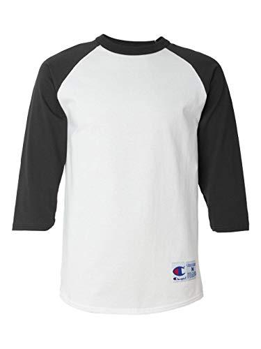 Champion Men's Raglan Baseball T-Shirt, White/Black, Large