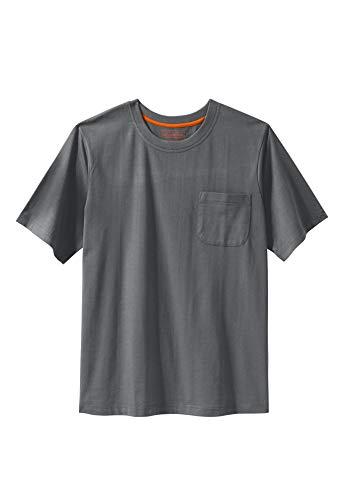 Boulder Creek Men's Big & Tall Heavyweight Crewneck Pocket T-Shirt, - Steel Crewneck