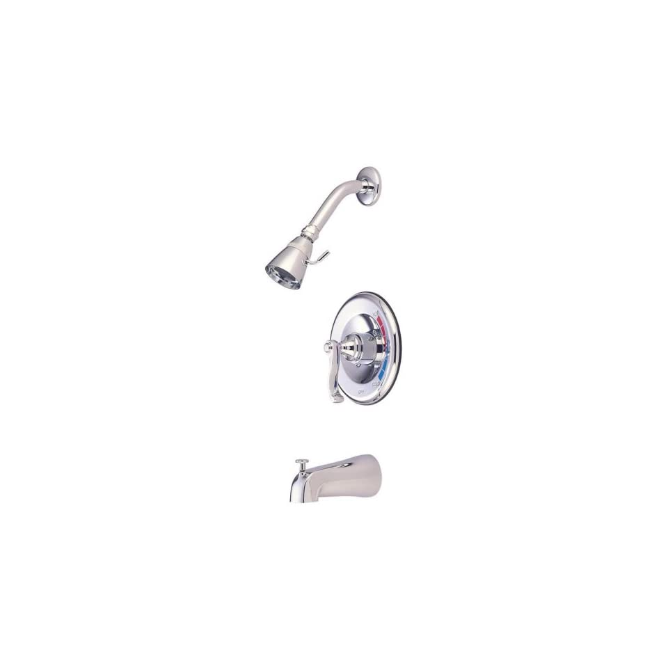 Royale Diverter Tub and Shower Faucet with French Lever Handles Finish Satin Nickel / Polished Chrome