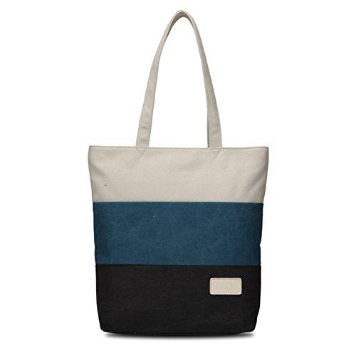 ZiXing Bolsas de Tela y de Playa Mujer Bolsa de Mano (Estrecho) Azul Negro