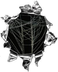 Mini Ripped Torn Metal Decal with Spider Web - 4