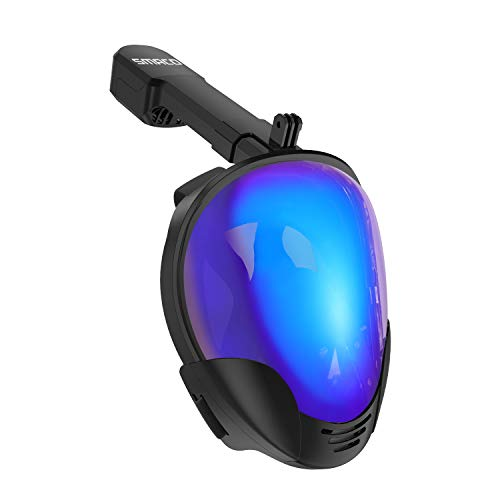 SMACO Full Face Snorkel Mask with UV Protection Anti-Fog Anti-Leak Snorkeling Mask with Detachable Camera Mount 180° Panoramic View Swimming Mask for Adults and Youth (Black/UV, Small/Medium) ()