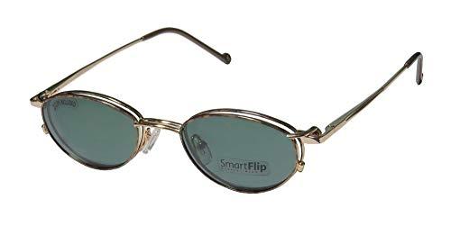SmartFlip 405 Mens/Womens Designer Full-Rim Shape Sunglass Lens Clip-Ons Spring Hinges Eyeglasses/Eyewear (48-19-135, Gold/Horn/Green Clip-on Lens) (Hipster-frame-brille)