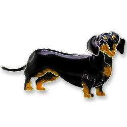 - Black & Tan Dachshund Dog Sterling Silver and Enamel Pin by Zarah