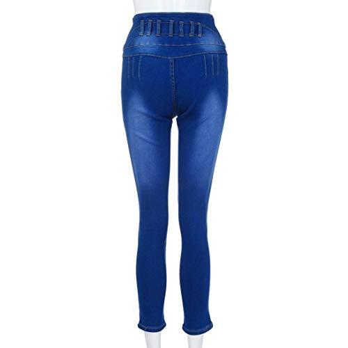 Forti Alta Jeans Button Vita Taglie Pantalone Casual Donna Down Skinny Dragon868 Blu Denim 2xl 4vAaqqY