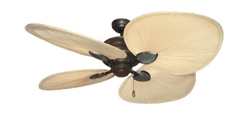 Palm Breeze II Tropical Palm Ceiling Fan in Weathered Brick with 56 Natural Palm Blades