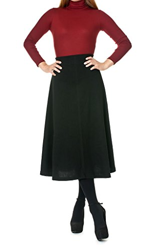 Dani's Choice Elastic Waist A-line Flared Long Skirt (XL, Black) A-line Elastic Waist Skirt
