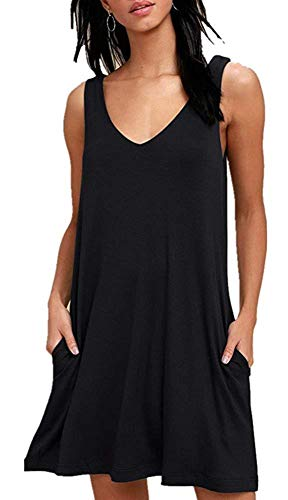 ZIKKER Women Summer Casual Solid Color T Shirt Dresses Beach Cover up Pleated Tank Dress Black S