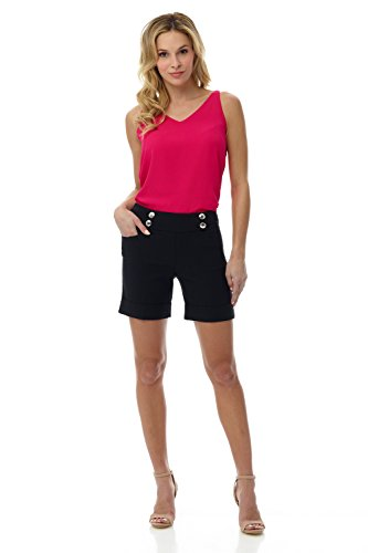 Rekucci Women's Ease Into Comfort 6 inch Cuffed Short with Button Detail (10,Black) ()