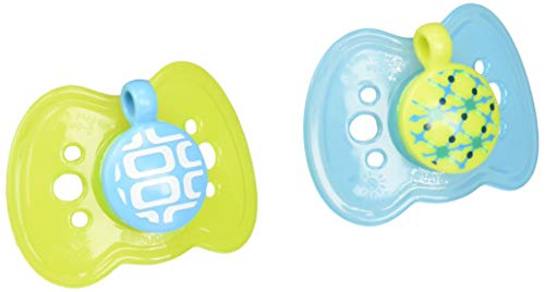 The First Years 2 Piece Gumdrop Newborn Ortho Assorted Pacifier, 1 Boy 1 Girl 2 Neutral