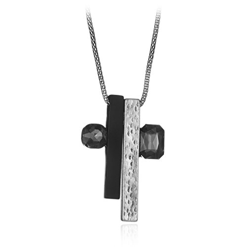 Welbijoux Cross Pendant Necklace 2 Tone Black Diamond Y Pendant Necklace Antique Finish Chain Necklace for Women Teens Girls - Hot Diamonds Diamond Necklace