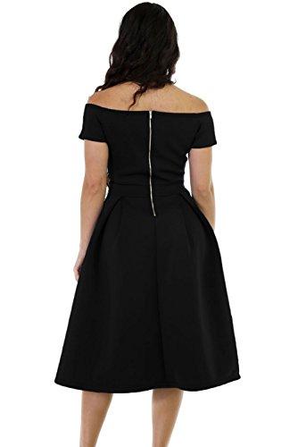 cf31282c0a ... Dresses Lalagen Women s Vintage 1950s Party Cocktail Wedding Swing Midi  Dress Black L.   