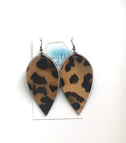 Leopard print leather petal earrings // black leather backs //