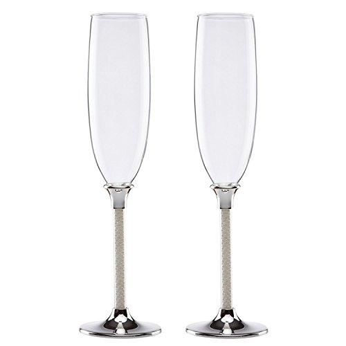 OKSLO Jubi pearl 7 ounce toasting flute glass, set of 2 Model d2991