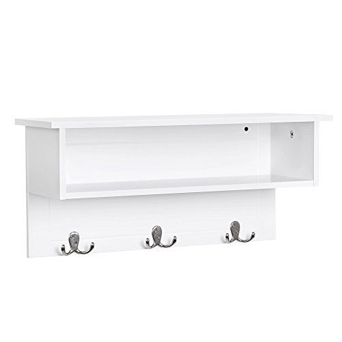 VASAGLE Wooden Entryway Hanging Shelf with 3 Double Hooks and Storage, White ULES01WT ()