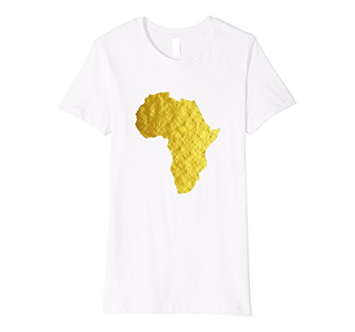 Womens Africa Shirt African Map Faux Gold White Print Tee Top XL White by Africa Shirt Shop