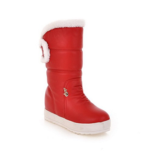 Womens and Bowknot with AmoonyFashion Closed Boots Solid Toe Red Round Heels Low Metalornament d8x6qT6vzw