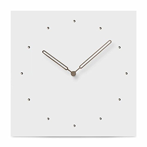 FlorLife White Square Wall Clock, Simply European Style MDF Wood Rustic Unique Hollow Dot Dial Decorative Clocks Without Ticking Sound, Adjust Quartz Aa Battery Clock (Target Wood Clock)