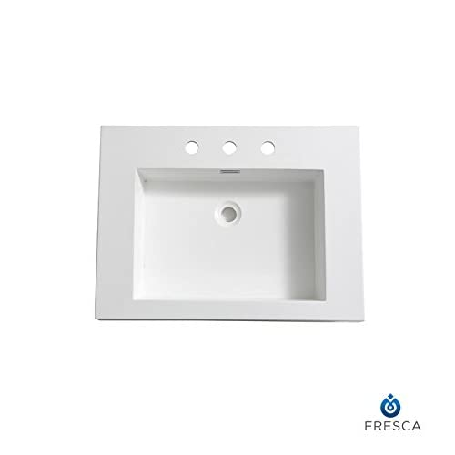 "Fresca FVS8070WH Potenza 28"" White Integrated Sink with Countertop outlet"
