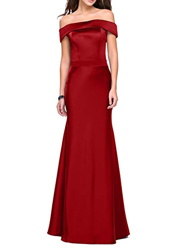 Rot Abendkleider La Brautjungfernkleider Figurbetont Lang Bodenlang Dunkel Meerjungfrau Satin Ballkleider mia Braut Etuikleider Xr0X7