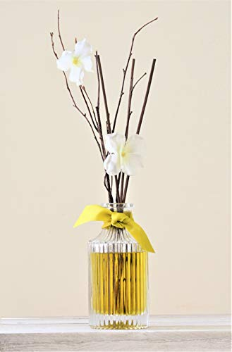 Manu Home Jasmine and White Frangipani Reed Diffuser Gift Set | 6.5oz | Made with Aromatherapy Oils | Brown Reed Sticks, Soothing Scent housed in Beautiful Reusable Luxurious Bottle | Made in USA