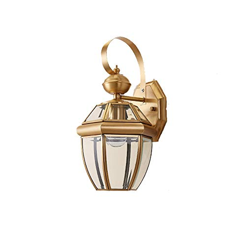 Wylolik Victoria Gold Copper Casting Transparent Glass Wall Lamp Square Villa Living Room Facade Decorative Light Dusk to Dawn Corridor Porch Garden Lighting Wall Sconce Easy to Install 13inch