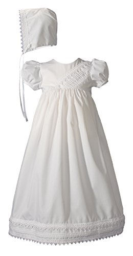 Little Things Mean A Lot Girls Heart Trimmed Cotton Blend Christening Gown with Pin Tucking and Bonnet12m White