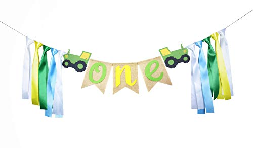RON PT Green Tractor 1st Birthday Banner ONE High Chair Banner for Baby's Tractor Time Party