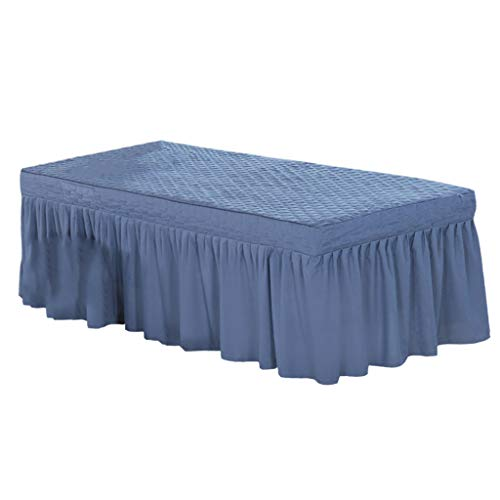 Standard Massage Table Skirt Beauty Face Facial Bed Cover Linen Valance Sheet 73x28inch With 54 Drop Skirt – Blue