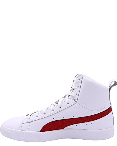 Puma Clyde Mid Core Folie Herren Schwarz Leder High Top Lace Up Sneakers Schuhe Puma Weiß / Barbados Rot